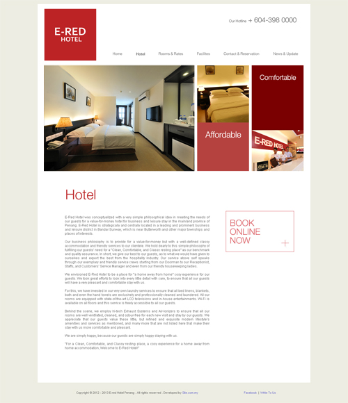Here Is The Design Of Web Site For E Red Hotel A Which Located In Leading And Prominent Business Leisure District Bandar Sunway